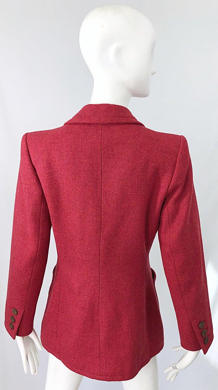 Vintage Yves Saint Laurent 1990s Raspberry Pink Classic 90s Blazer Jacket YSL For Sale 10