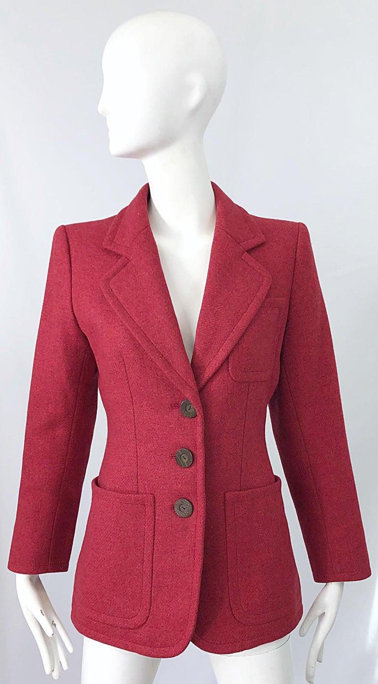 Vintage Yves Saint Laurent 1990s Raspberry Pink Classic 90s Blazer Jacket YSL For Sale 11