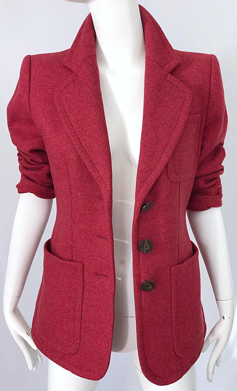 Vintage Yves Saint Laurent 1990s Raspberry Pink Classic 90s Blazer Jacket YSL In Excellent Condition For Sale In Chicago, IL