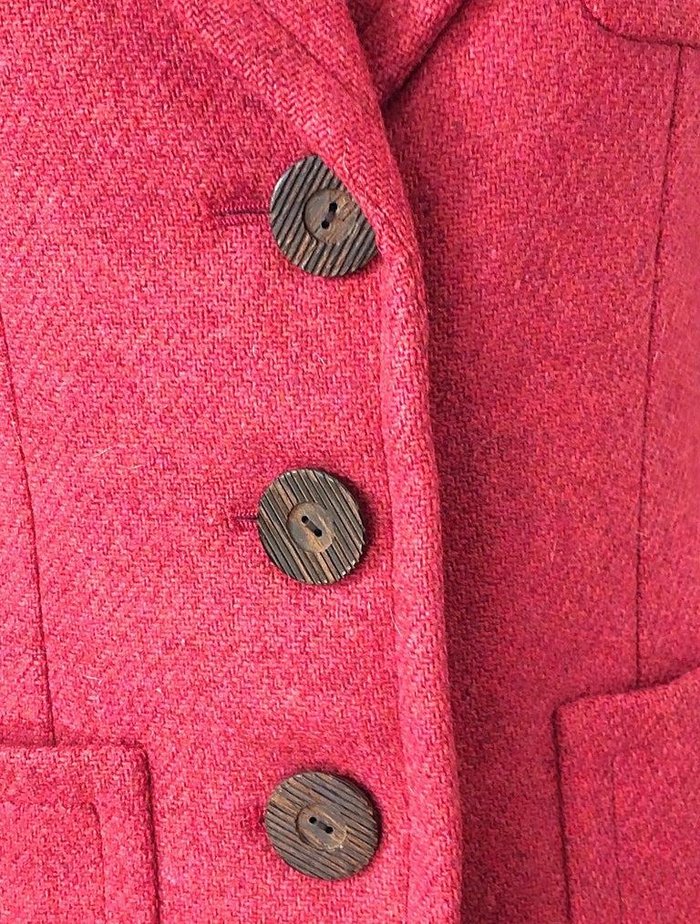 Women's Vintage Yves Saint Laurent 1990s Raspberry Pink Classic 90s Blazer Jacket YSL For Sale