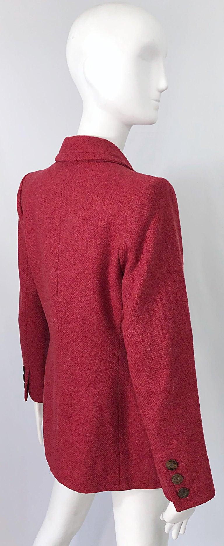 Vintage Yves Saint Laurent 1990s Raspberry Pink Classic 90s Blazer Jacket YSL For Sale 1