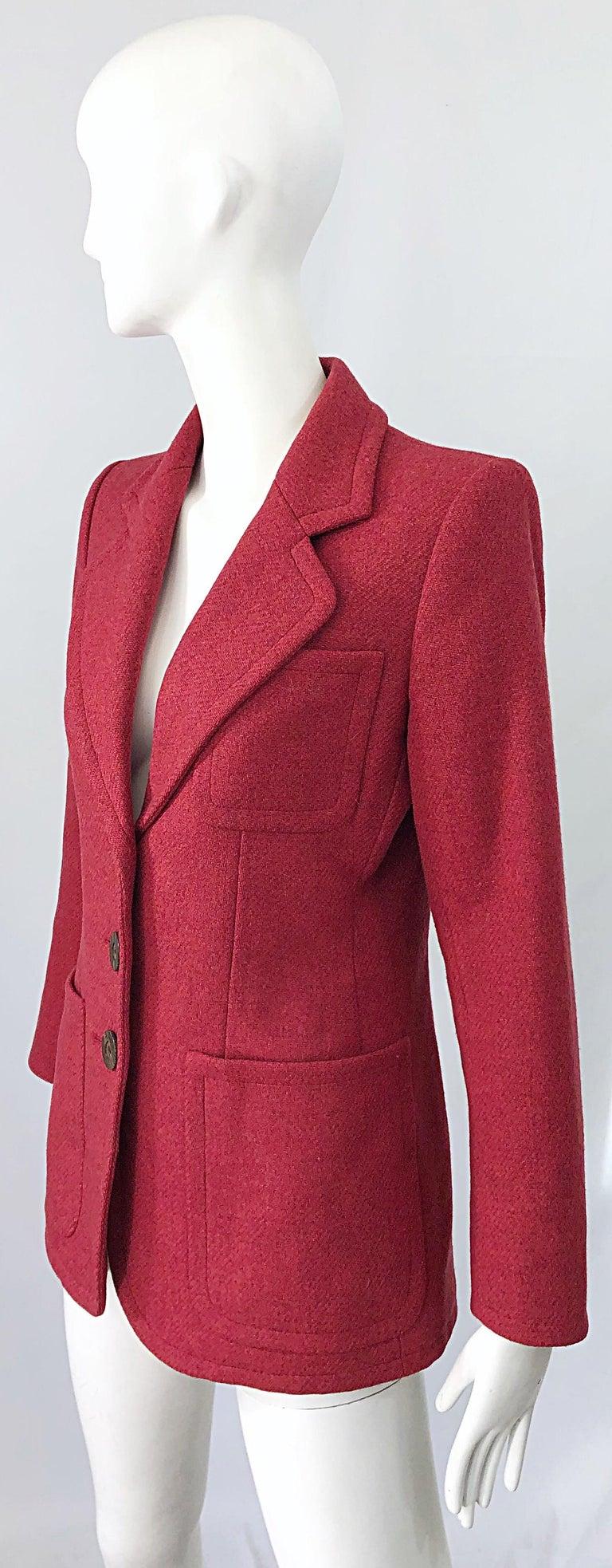 Vintage Yves Saint Laurent 1990s Raspberry Pink Classic 90s Blazer Jacket YSL For Sale 2