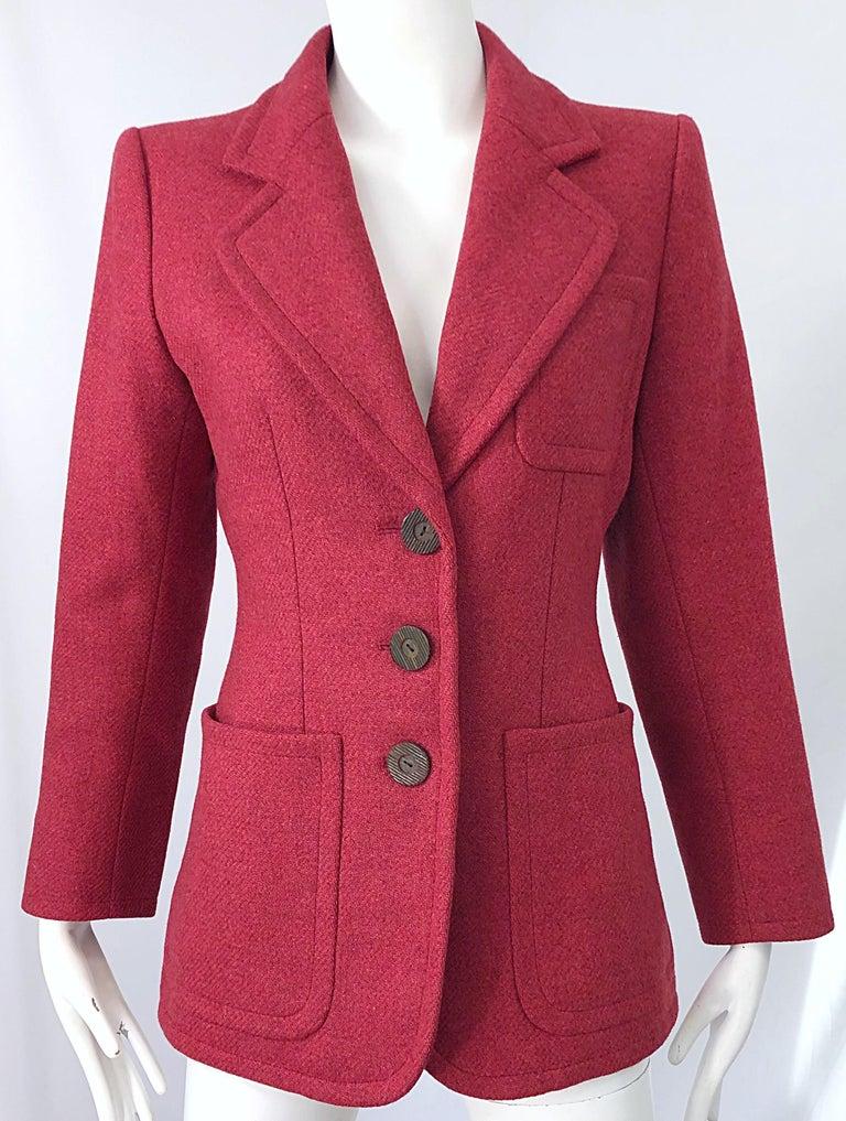 Vintage Yves Saint Laurent 1990s Raspberry Pink Classic 90s Blazer Jacket YSL For Sale 3