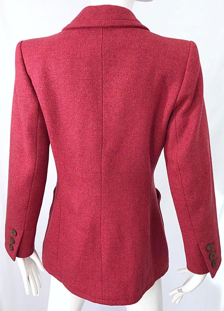 Vintage Yves Saint Laurent 1990s Raspberry Pink Classic 90s Blazer Jacket YSL For Sale 4