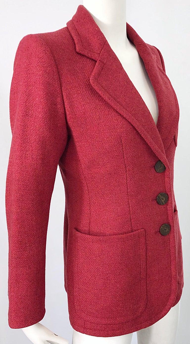 Vintage Yves Saint Laurent 1990s Raspberry Pink Classic 90s Blazer Jacket YSL For Sale 5