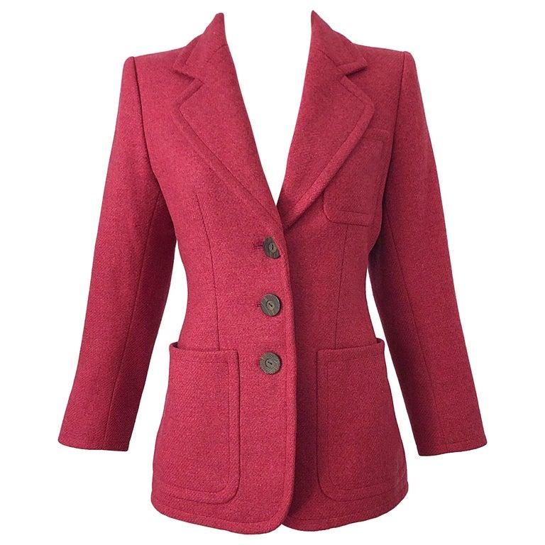Vintage Yves Saint Laurent 1990s Raspberry Pink Classic 90s Blazer Jacket YSL For Sale