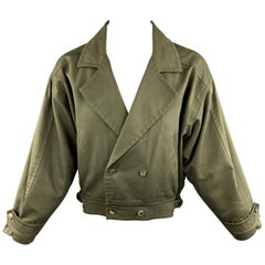 Vintage YVES SAINT LAURENT 40 Olive Cotton Double Breasted Jacket