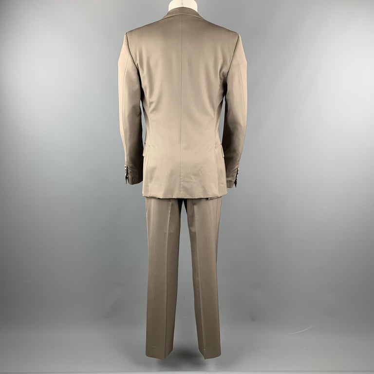 Vintage YVES SAINT LAURENT 42 Regular Taupe Wool Suit In Excellent Condition For Sale In San Francisco, CA