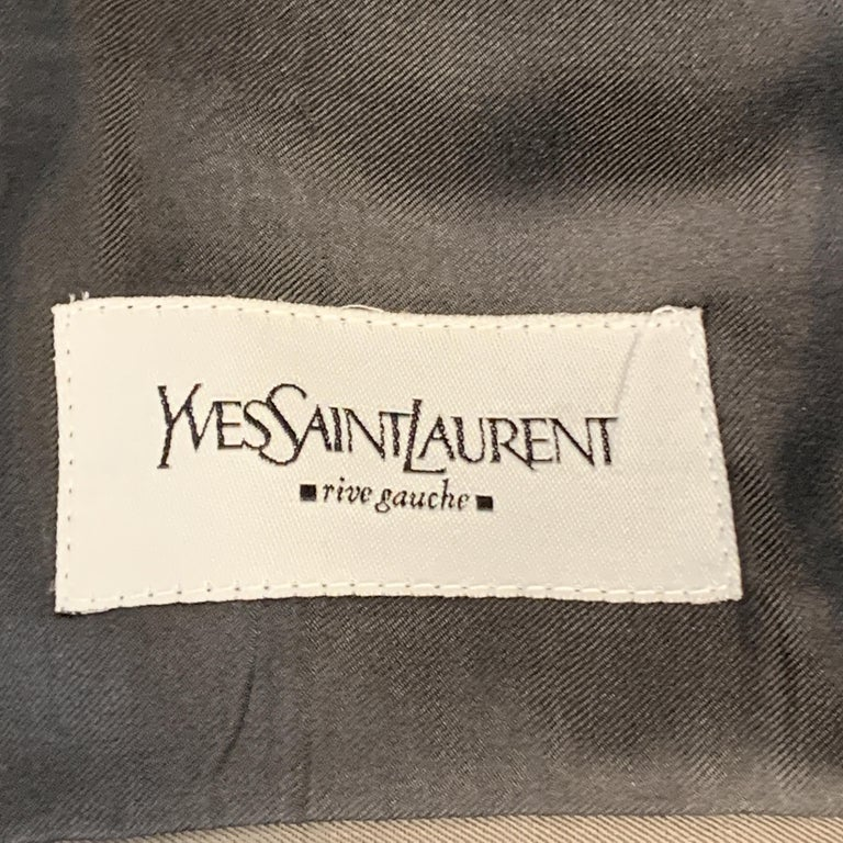 Vintage YVES SAINT LAURENT 42 Regular Taupe Wool Suit For Sale 4
