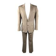 Vintage YVES SAINT LAURENT 42 Regular Taupe Wool Suit