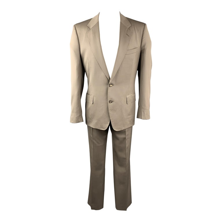 Vintage YVES SAINT LAURENT 42 Regular Taupe Wool Suit For Sale