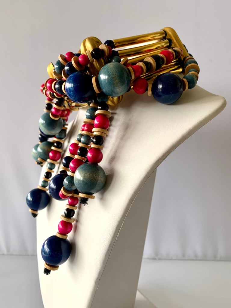 Artisan Vintage Yves Saint Laurent African Collection Gold and Pink Necklace  For Sale