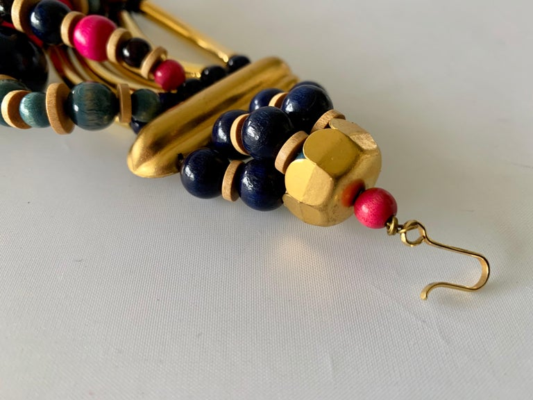 Vintage Yves Saint Laurent African Collection Gold and Pink Necklace  For Sale 3