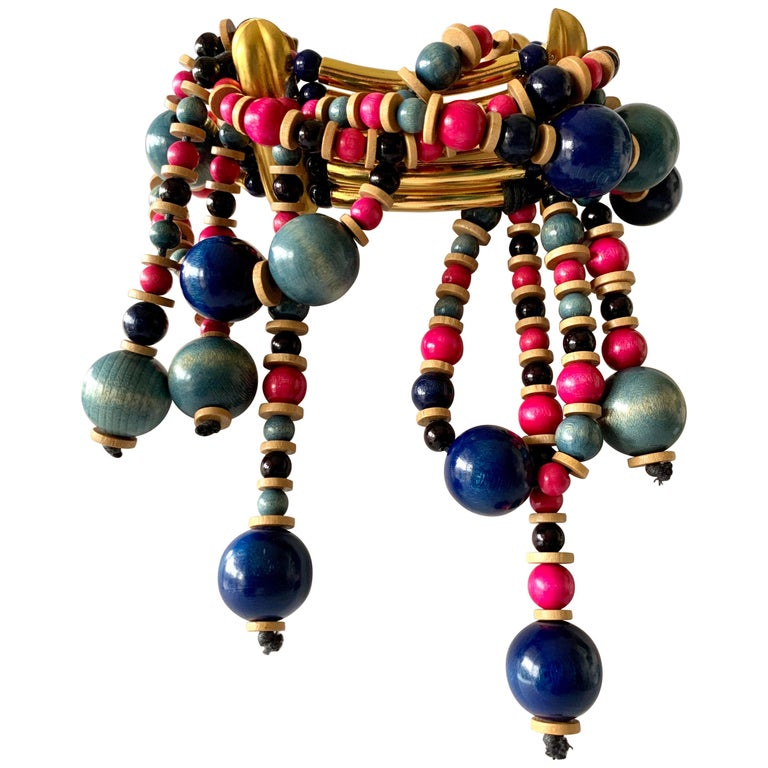 Vintage Yves Saint Laurent African Collection Gold and Pink Necklace  For Sale