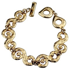 Vintage YVES SAINT LAURENT Arabesque Hammered Bracelet