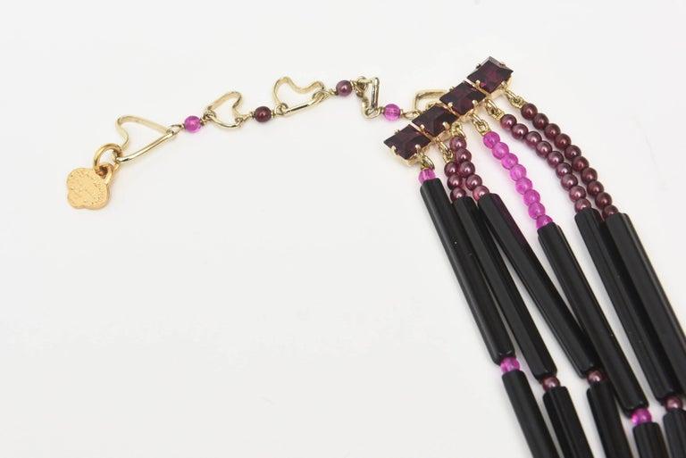 Women's Yves Saint Laurent Black and Purple Glass 6 Strand Rare Necklace Vintage For Sale