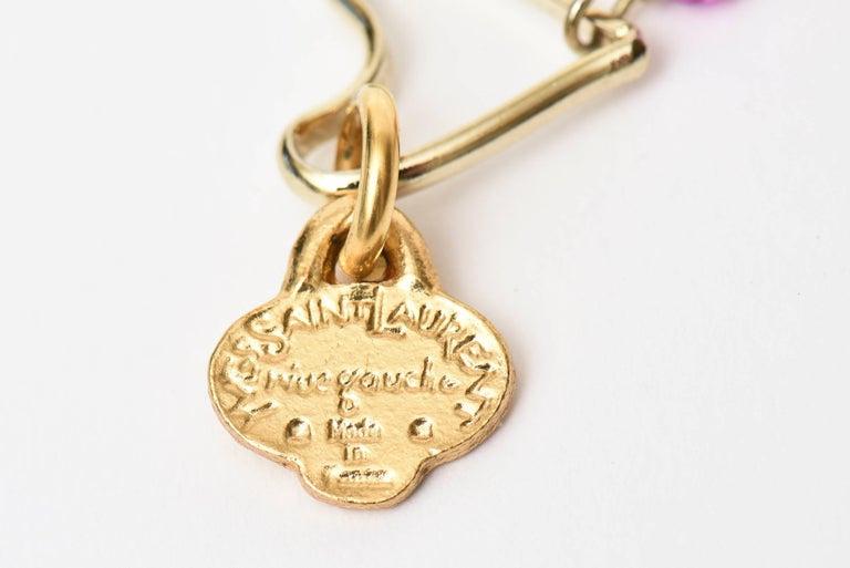 Yves Saint Laurent Black and Purple Glass 6 Strand Rare Necklace Vintage For Sale 1