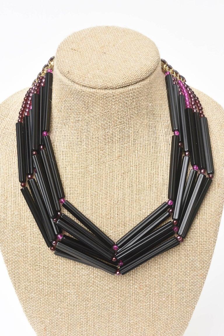 Yves Saint Laurent Black and Purple Glass 6 Strand Rare Necklace Vintage For Sale 3
