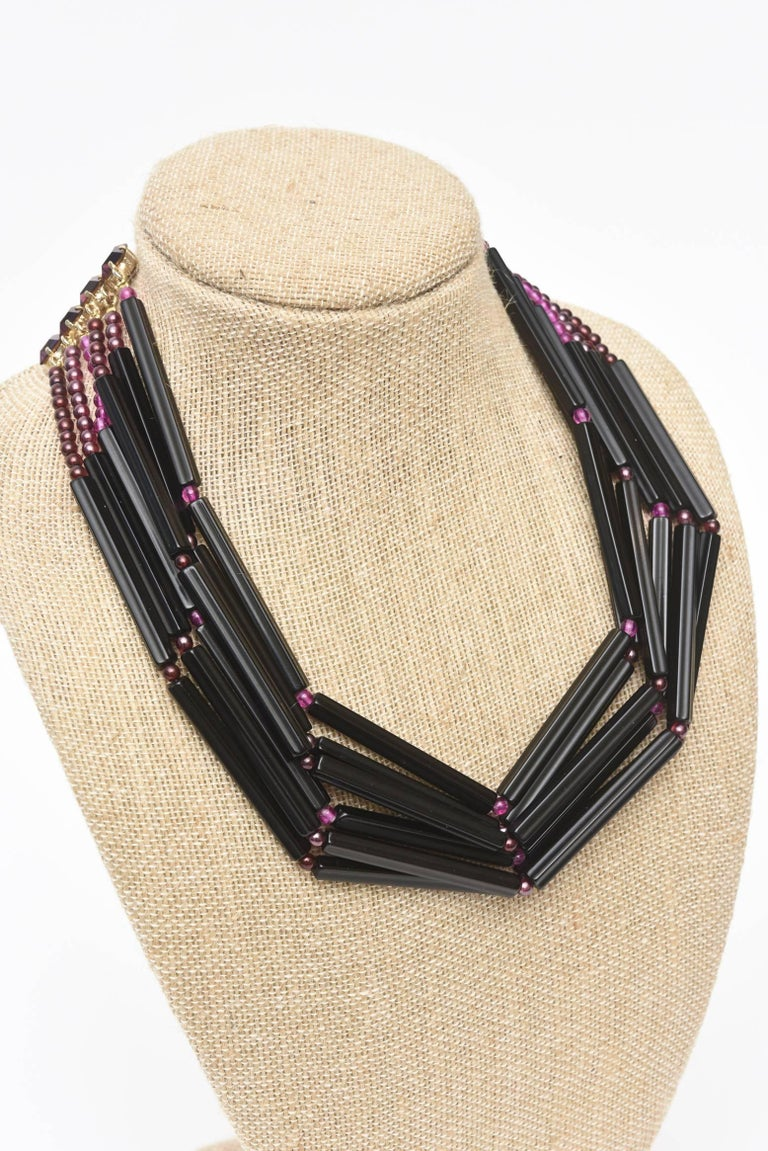 Yves Saint Laurent Black and Purple Glass 6 Strand Rare Necklace Vintage For Sale 4
