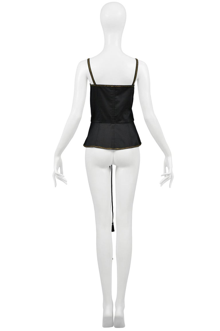 Vintage Yves Saint Laurent Black Corset Top In Excellent Condition For Sale In Los Angeles, CA