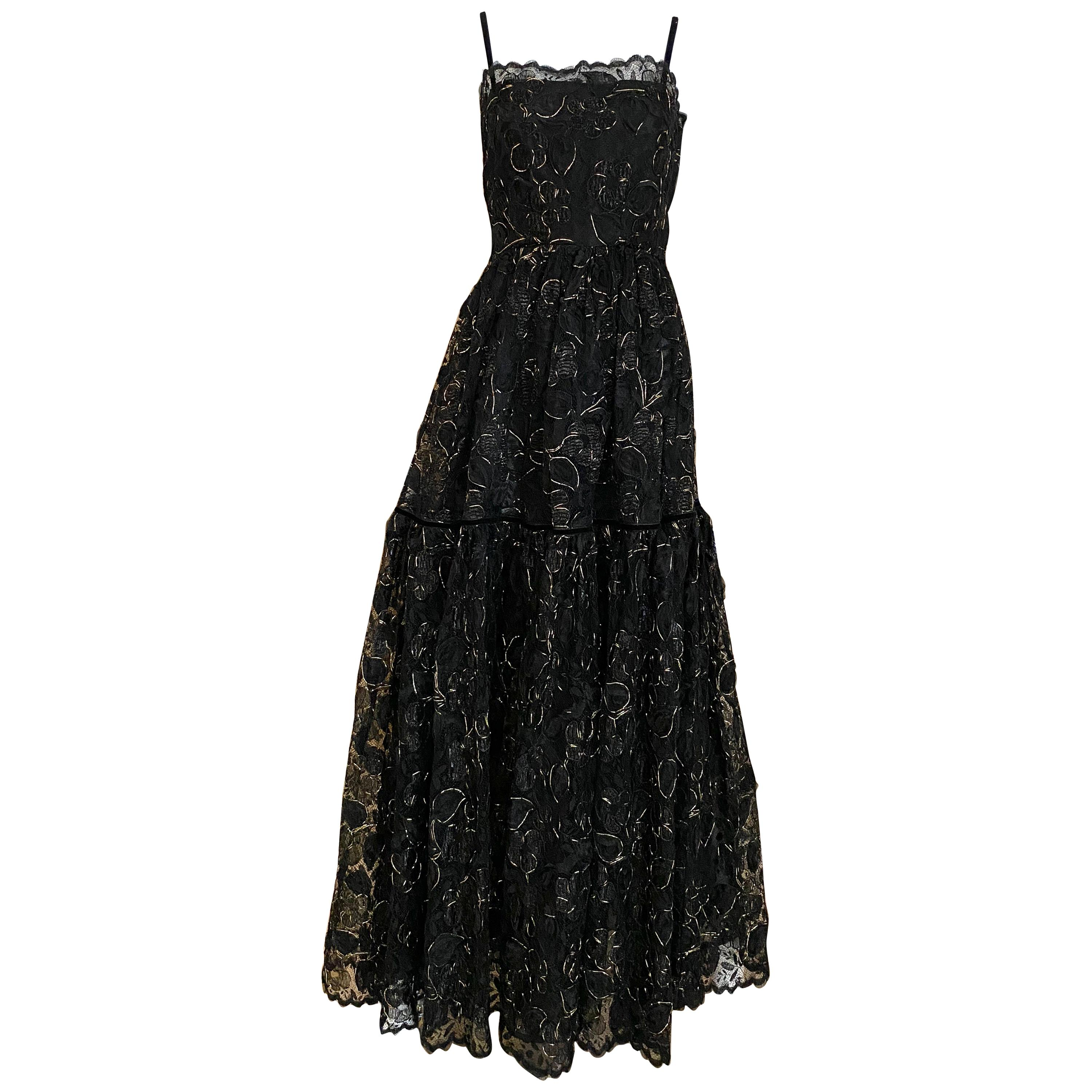 Vintage Yves Saint Laurent Black Lace with Gold lace thread
