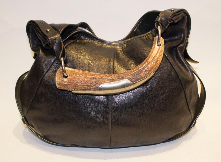 Vintage Yves Saint Laurent black Leather Mombasa Bag In Good Condition For Sale In London, GB