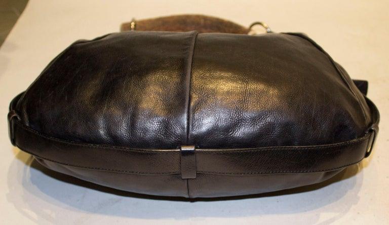 Women's Vintage Yves Saint Laurent black Leather Mombasa Bag For Sale