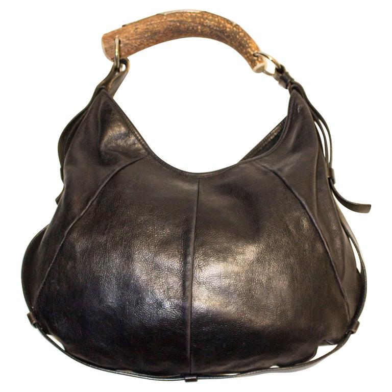 Vintage Yves Saint Laurent black Leather Mombasa Bag For Sale