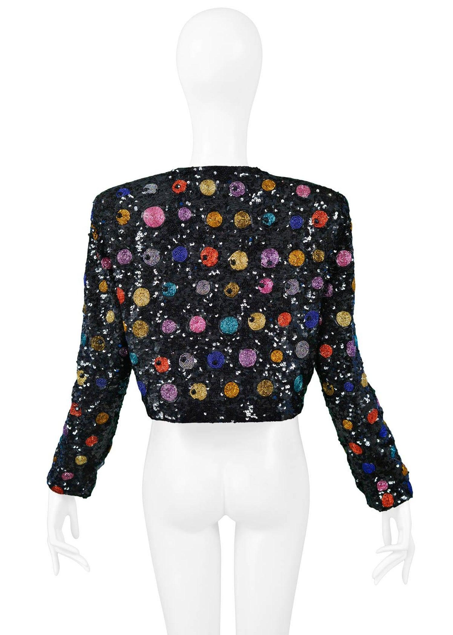 854390274dd Vintage Yves Saint Laurent Black Sequin and Multicolor Beaded Bolero Jacket  at 1stdibs