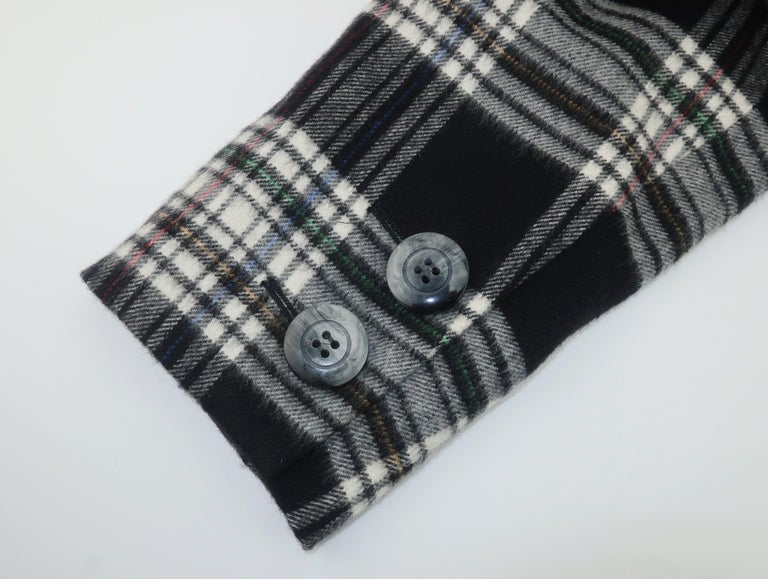 Vintage Yves Saint Laurent Black & White Plaid Wool Jacket For Sale 6