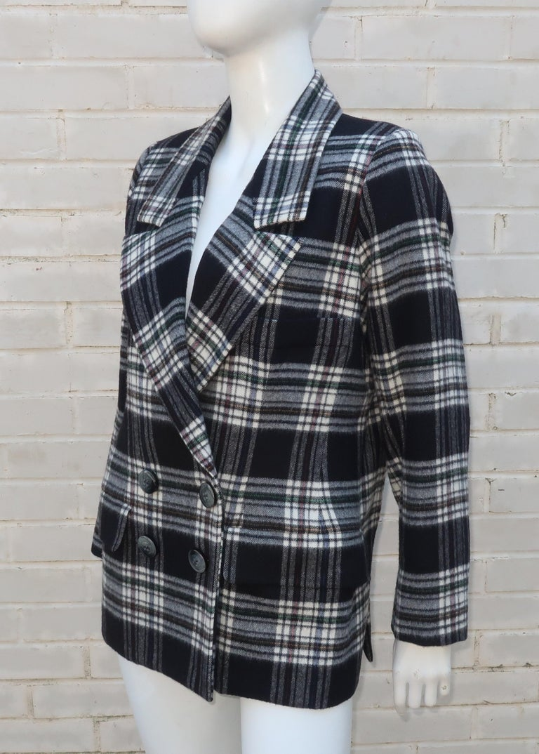 Vintage Yves Saint Laurent Black & White Plaid Wool Jacket In Good Condition For Sale In Atlanta, GA