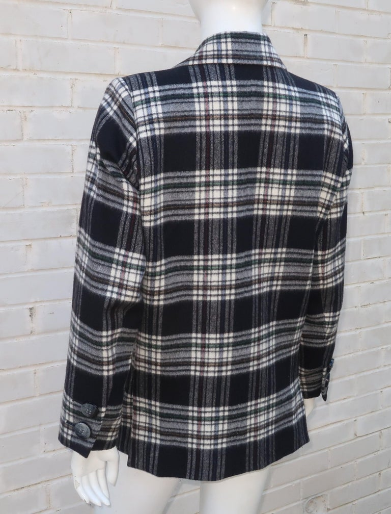 Women's Vintage Yves Saint Laurent Black & White Plaid Wool Jacket For Sale
