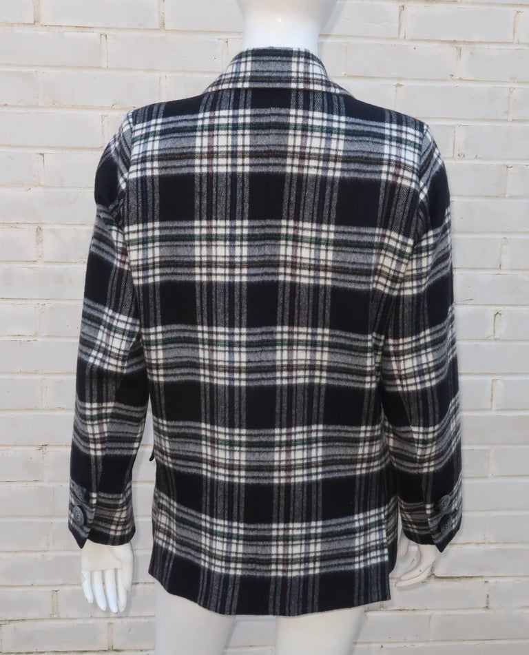 Vintage Yves Saint Laurent Black & White Plaid Wool Jacket For Sale 1