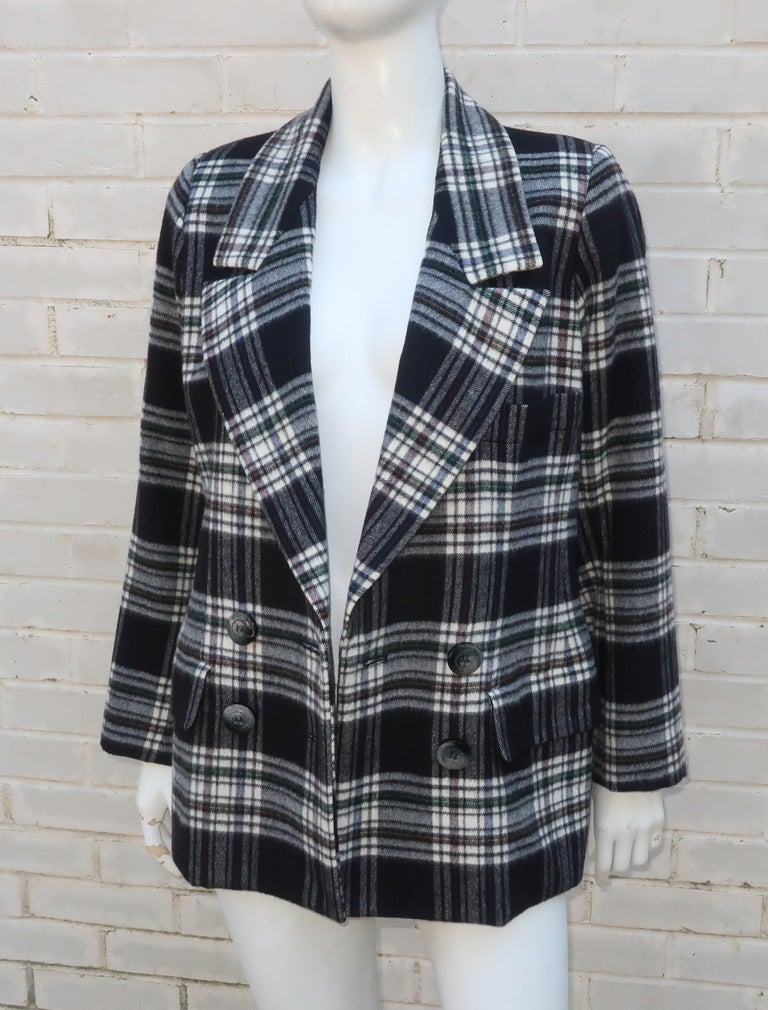 Vintage Yves Saint Laurent Black & White Plaid Wool Jacket For Sale 2