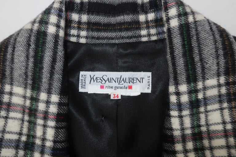 Vintage Yves Saint Laurent Black & White Plaid Wool Jacket For Sale 3