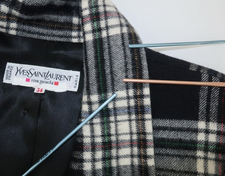 Vintage Yves Saint Laurent Black & White Plaid Wool Jacket For Sale 4