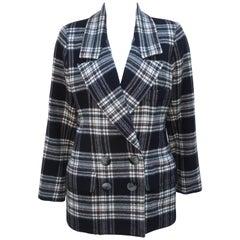 Vintage Yves Saint Laurent Black & White Plaid Wool Jacket