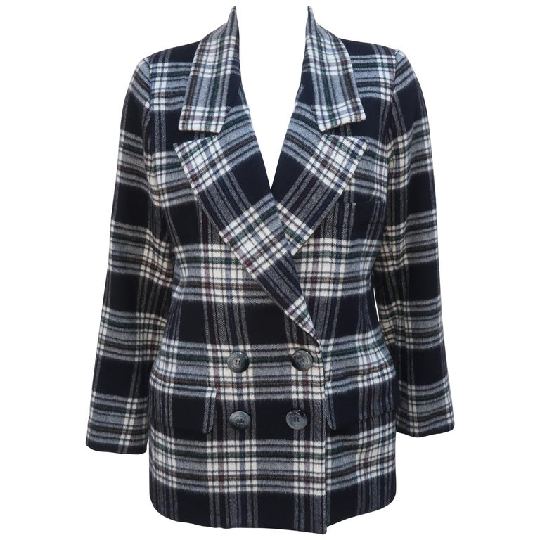 Vintage Yves Saint Laurent Black & White Plaid Wool Jacket For Sale