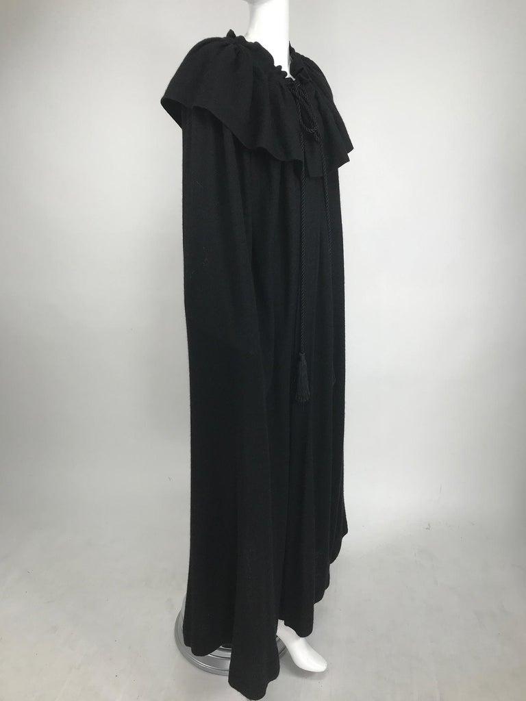 Vintage Yves Saint Laurent Black Wool Cape 1970s For Sale 6
