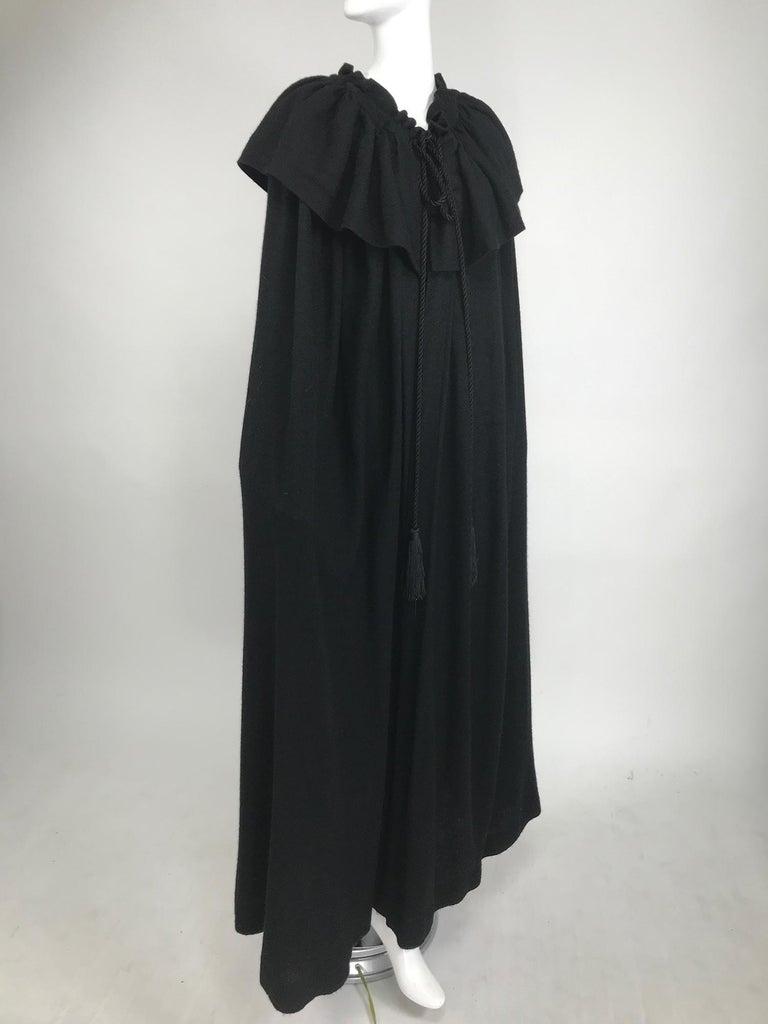 Vintage Yves Saint Laurent Black Wool Cape 1970s For Sale 7