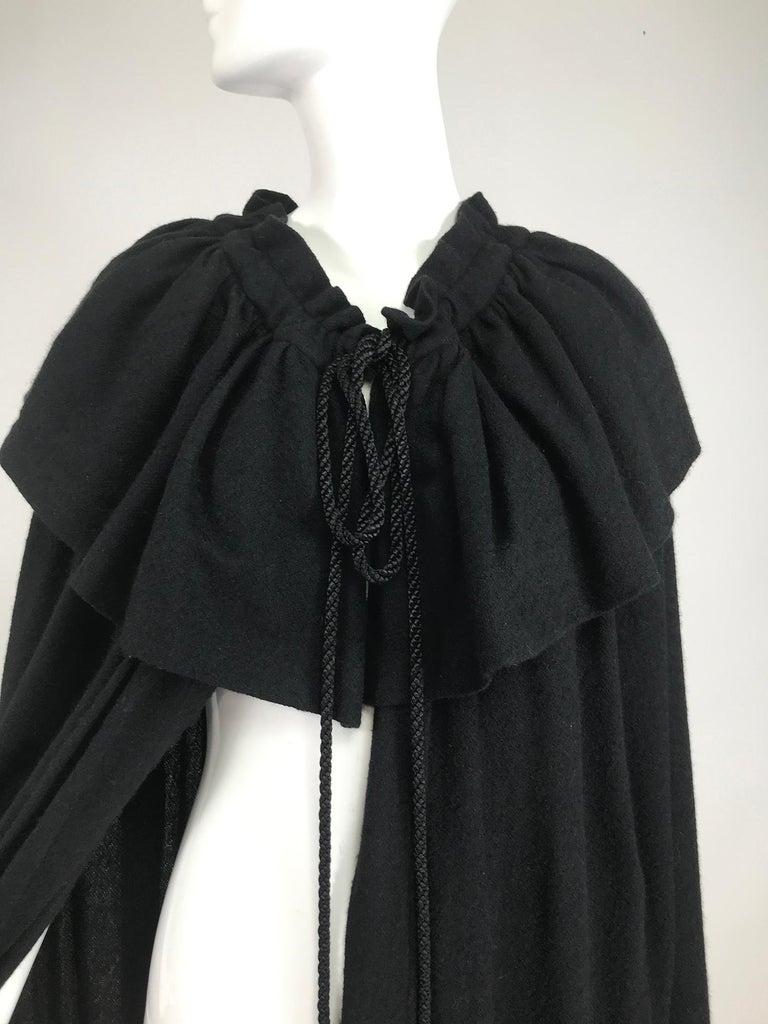 Vintage Yves Saint Laurent Black Wool Cape 1970s For Sale 8
