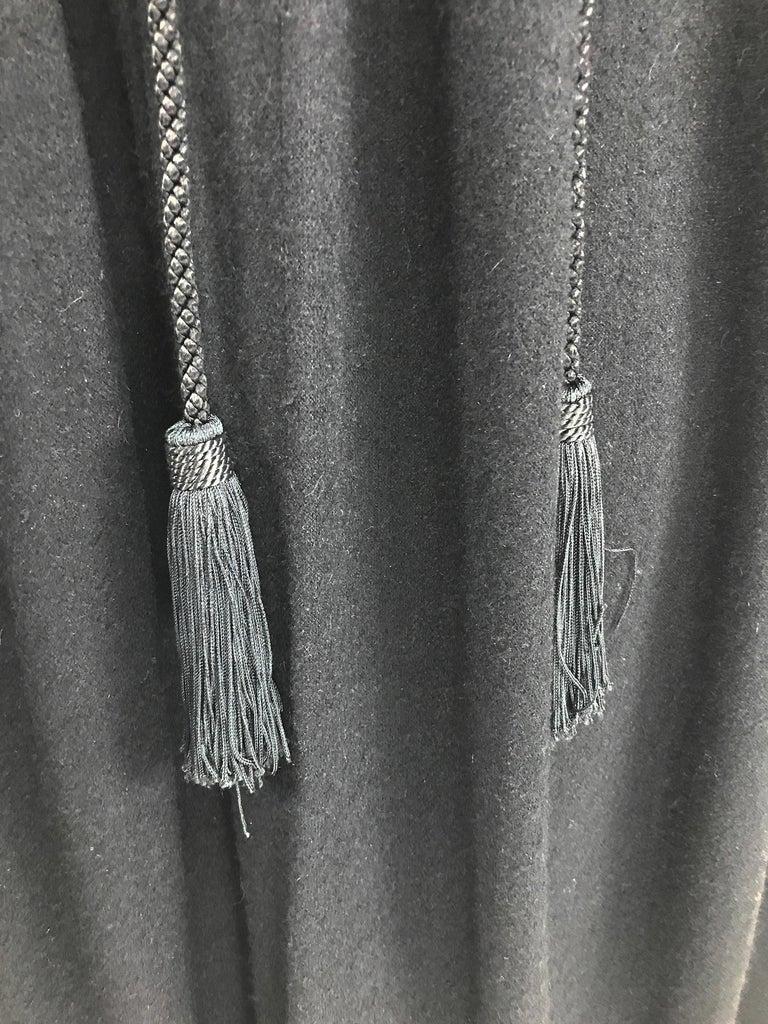 Vintage Yves Saint Laurent Black Wool Cape 1970s For Sale 10