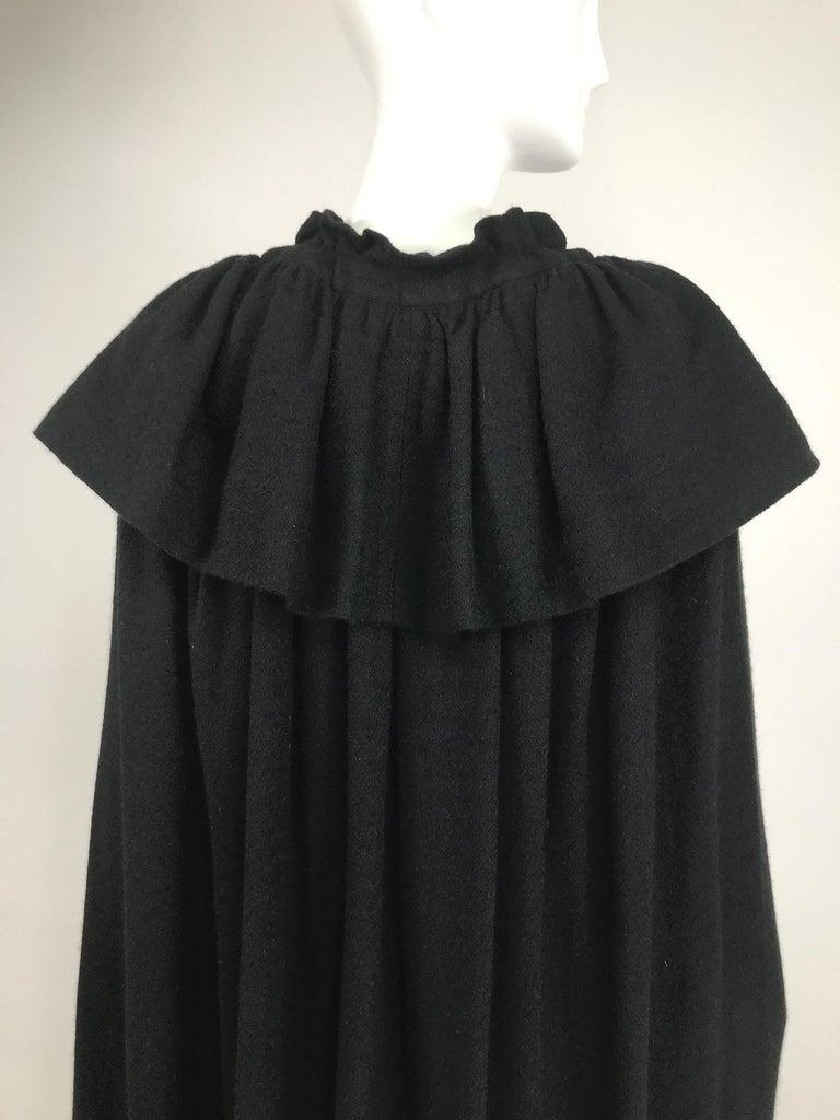 Vintage Yves Saint Laurent Black Wool Cape 1970s For Sale 11