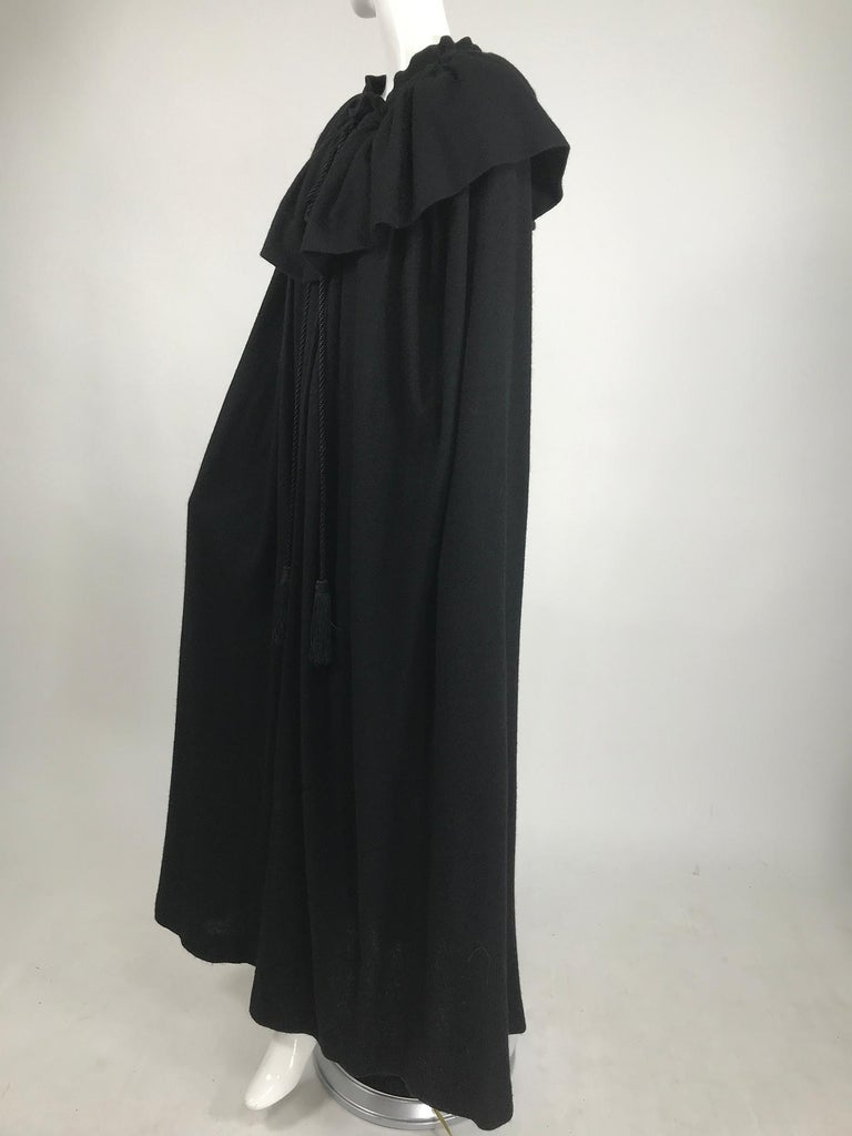 Vintage Yves Saint Laurent Black Wool Cape 1970s In Good Condition For Sale In West Palm Beach, FL
