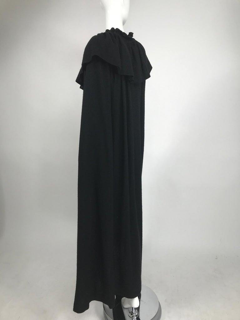 Vintage Yves Saint Laurent Black Wool Cape 1970s For Sale 1