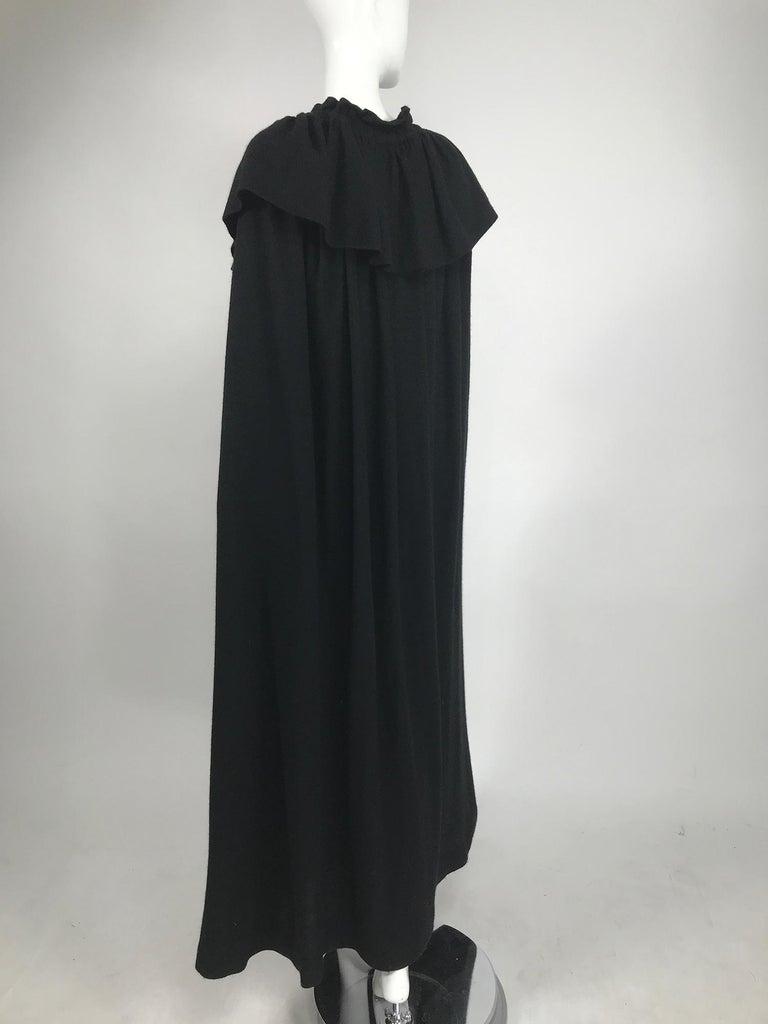 Vintage Yves Saint Laurent Black Wool Cape 1970s For Sale 2
