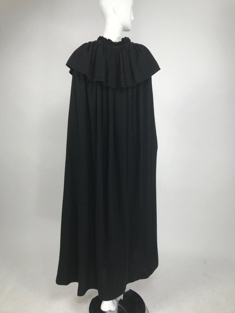 Vintage Yves Saint Laurent Black Wool Cape 1970s For Sale 3