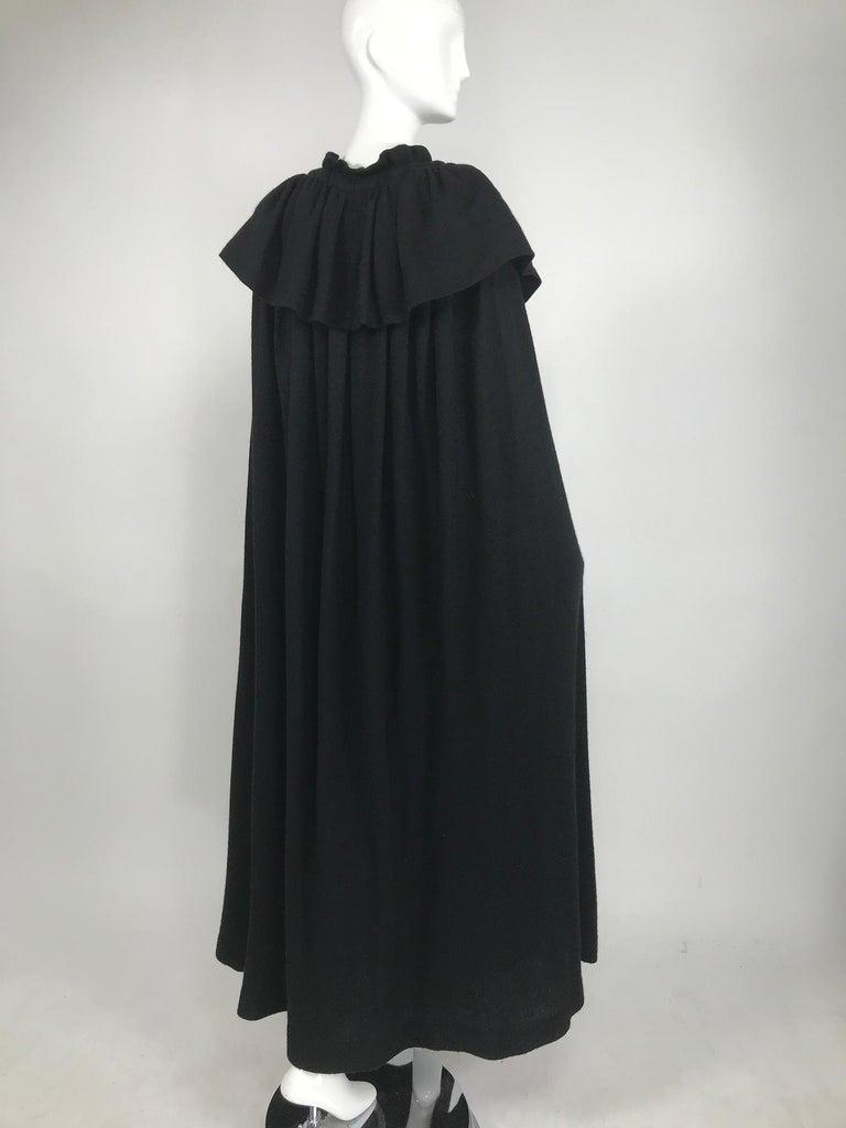 Vintage Yves Saint Laurent Black Wool Cape 1970s For Sale 4