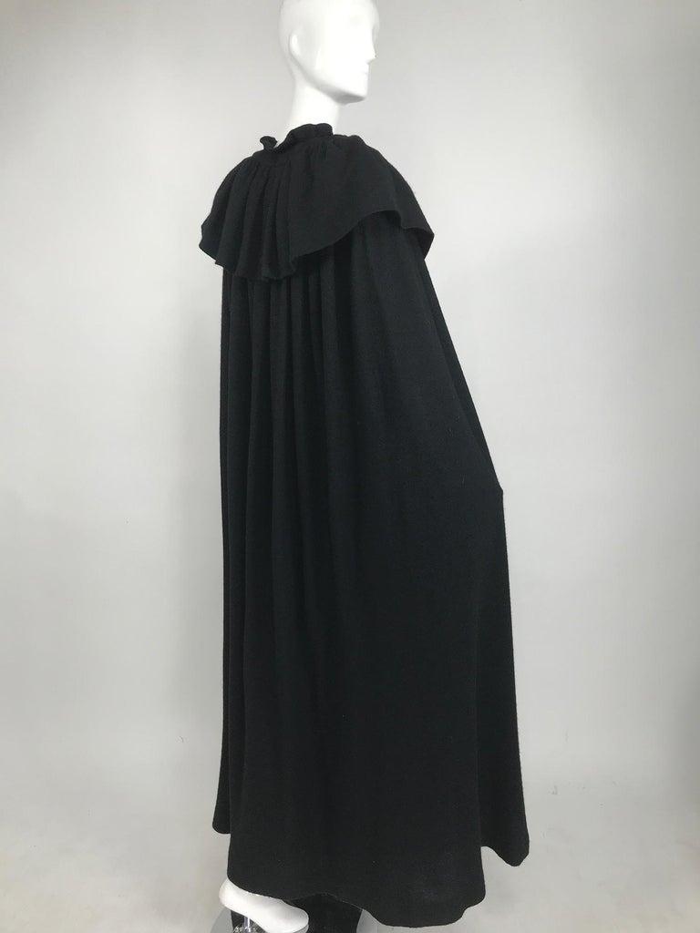 Vintage Yves Saint Laurent Black Wool Cape 1970s For Sale 5