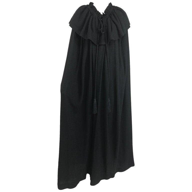Vintage Yves Saint Laurent Black Wool Cape 1970s For Sale